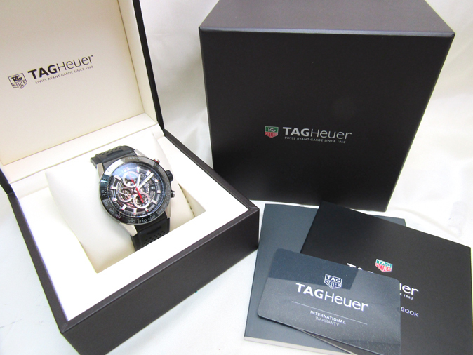 TAG HEUER/タグホイヤー カレラ キャリバー ホイヤー01 CAR2A1Z.FT6044 自動巻き スケルトン ラバーブレス メンズ腕時計_画像8