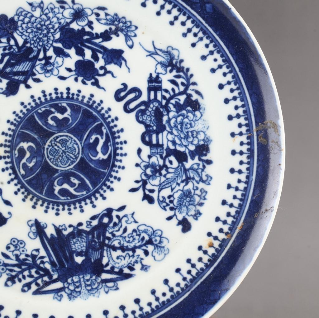 中国 清時代 古染付 青花 花図皿 !直径20.8 cm、高さ1.8cm _画像6