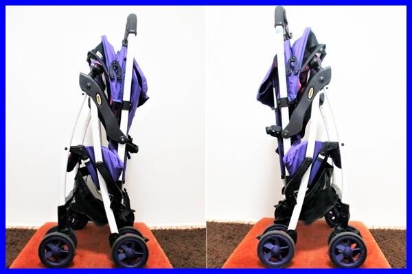 良品! アップリカ マジカルエアー 超軽量2.8kg B形 背面ベビーカー バイオレット 取説付き Aprica Magical Air 2014年モデル_画像3