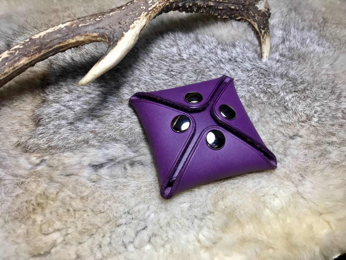 コインケース 小銭入れ 紫色 パープル 革 革製品 革小物 革財布 クリスマス