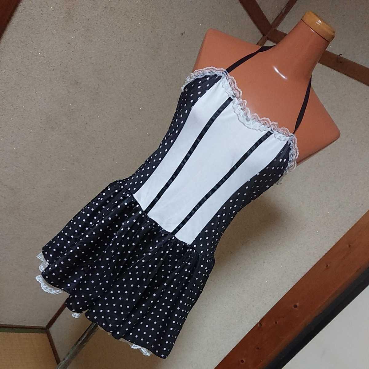 裾レースフリルパニエ付きドット柄メイドミニワンピース コスプレ 一体型