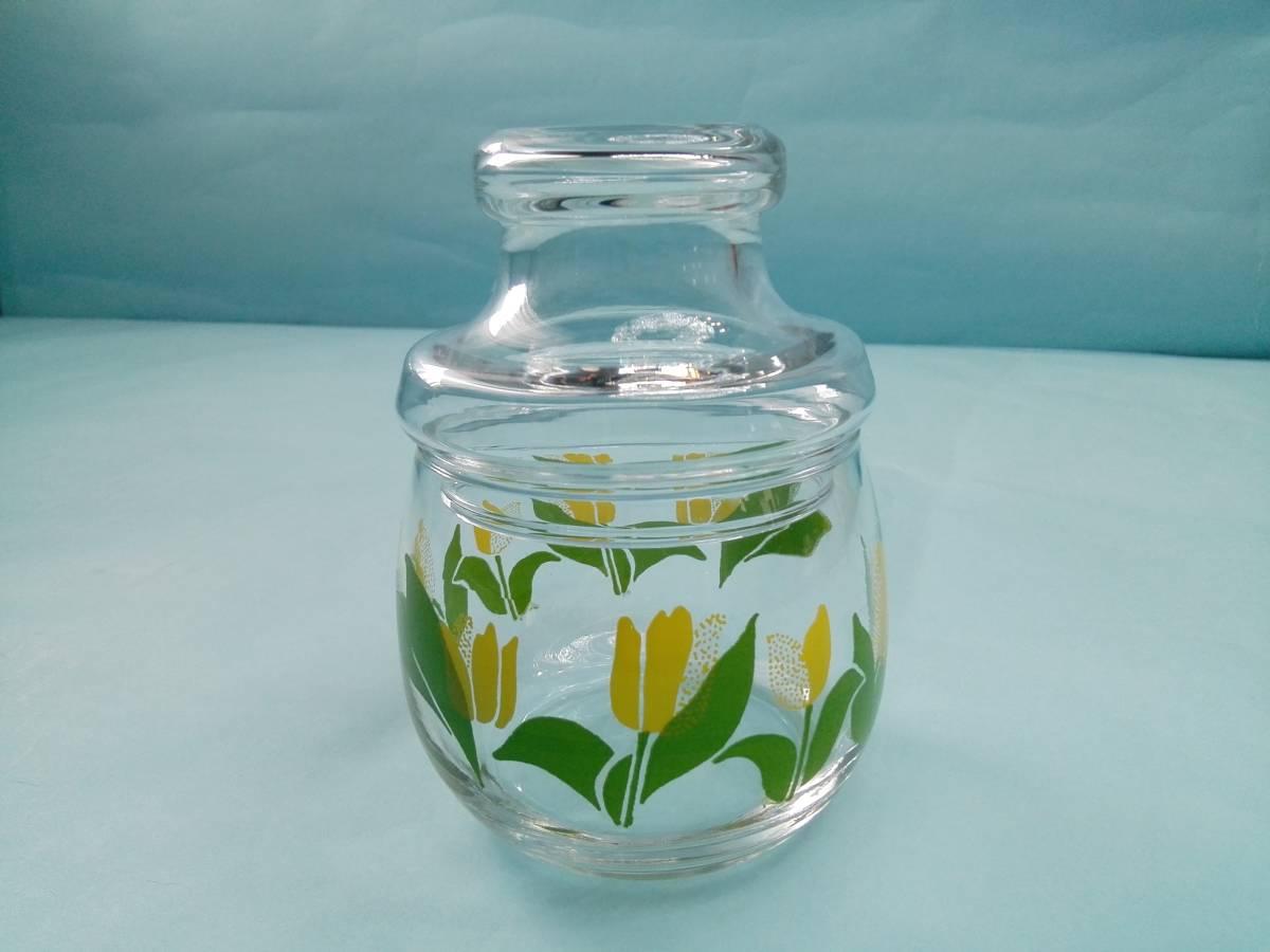 レトロポップ ガラス製 キャンディーポット キャニスター チュウリップ花柄_画像1