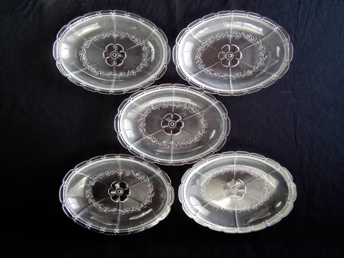アデリアグラス  石塚硝子 ガラス製 クックトレー  楕円形皿 5客 未使用_画像1