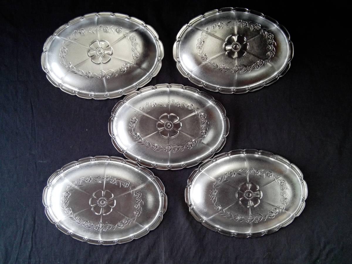 アデリアグラス  石塚硝子 ガラス製 クックトレー  楕円形皿 5客 未使用_画像2