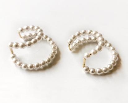 H0067:ビーズ 真珠のクリップイヤリング ピアス ミニマリスト 耳カフホット_画像6