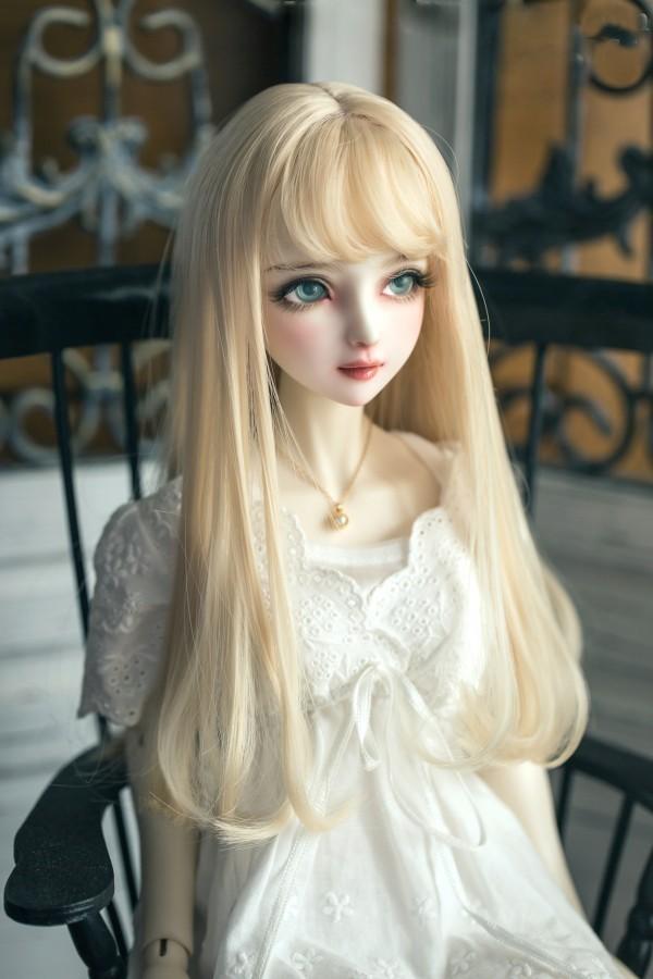 BJD女性人形用 ヘアウィッグ 1/3 1/4 1/6 BJD DD SD MSD人形 ロングシャンパンミルクゴールデンヘアウィッグ人形アクセサリー #002241_画像4
