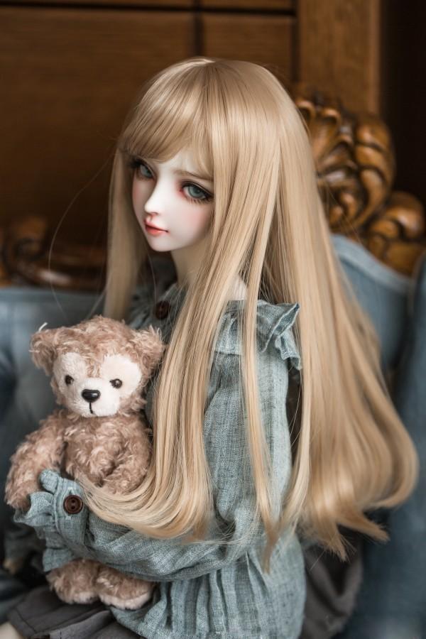 BJD女性人形用 ヘアウィッグ 1/3 1/4 1/6 BJD DD SD MSD人形 ロングシャンパンミルクゴールデンヘアウィッグ人形アクセサリー #002241_画像2