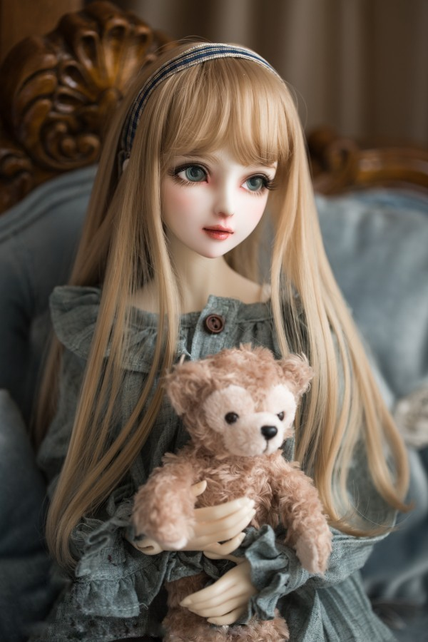 BJD女性人形用 ヘアウィッグ 1/3 1/4 1/6 BJD DD SD MSD人形 ロングシャンパンミルクゴールデンヘアウィッグ人形アクセサリー #002241_画像3