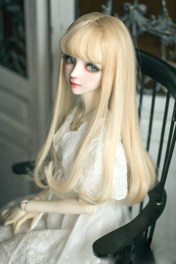 BJD女性人形用 ヘアウィッグ 1/3 1/4 1/6 BJD DD SD MSD人形 ロングシャンパンミルクゴールデンヘアウィッグ人形アクセサリー #002241_画像5