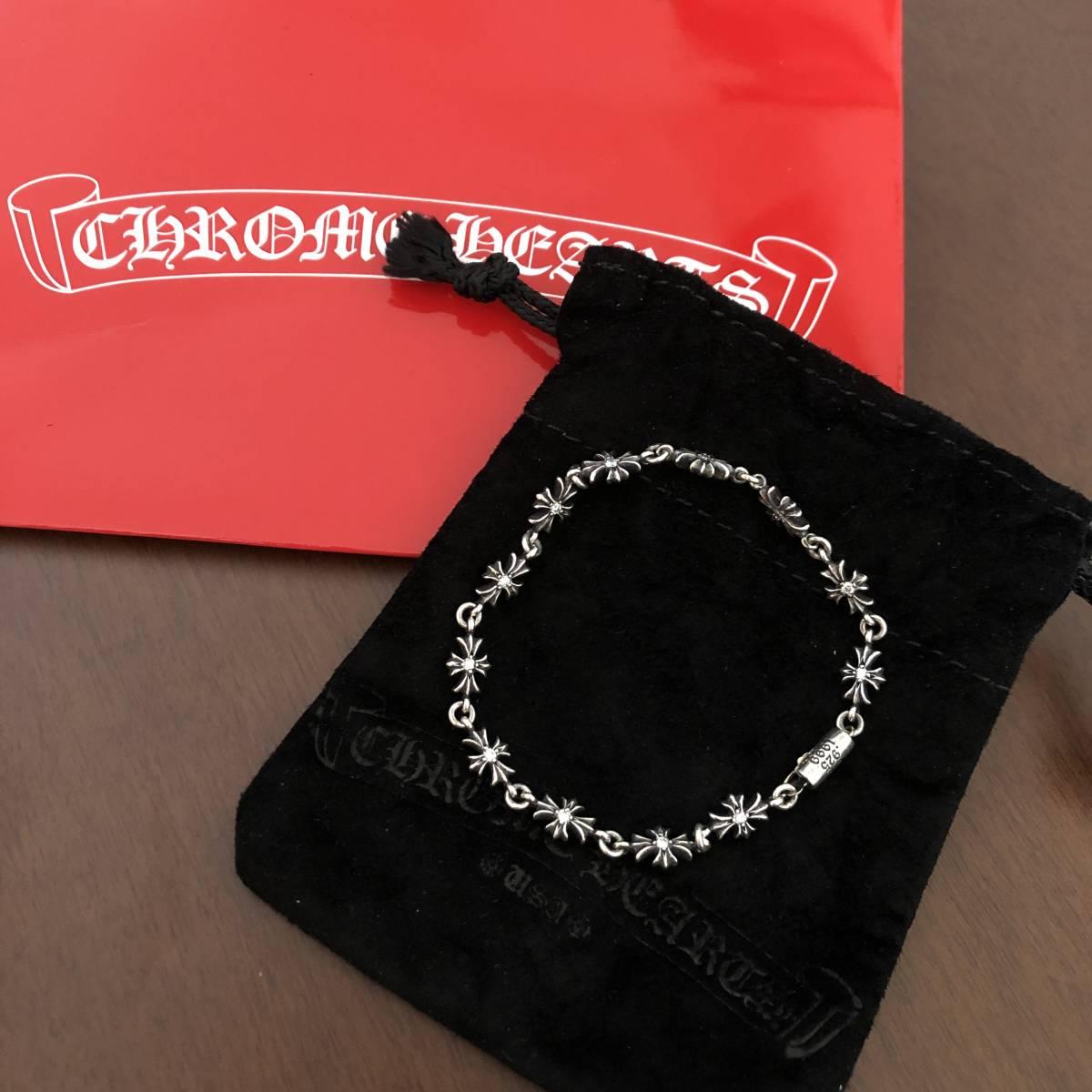 ◆入手困難◆新品◆クロムハーツ CHROME HEARTS クロス ダイヤモンド SV925 ブレスレット タイニー 希少 メンズ シルバーアクセ_画像1