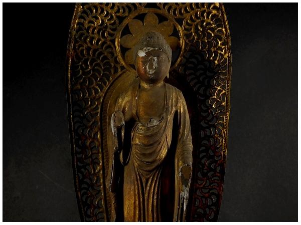 古い木彫 金彩 阿弥陀如来立像 (全長約21㎝) 時代物? 仏教美術 置物 _画像5