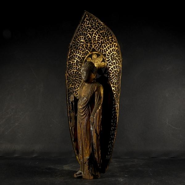 古い木彫 金彩 阿弥陀如来立像 (全長約21㎝) 時代物? 仏教美術 置物 _画像1