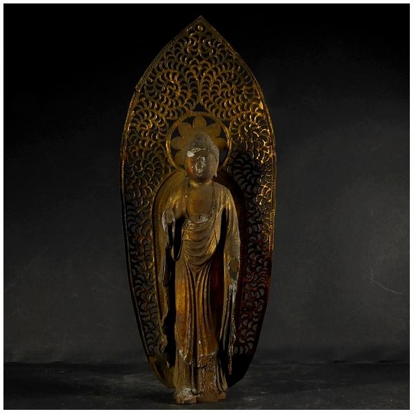 古い木彫 金彩 阿弥陀如来立像 (全長約21㎝) 時代物? 仏教美術 置物 _画像2