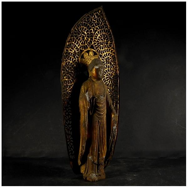古い木彫 金彩 阿弥陀如来立像 (全長約21㎝) 時代物? 仏教美術 置物 _画像3