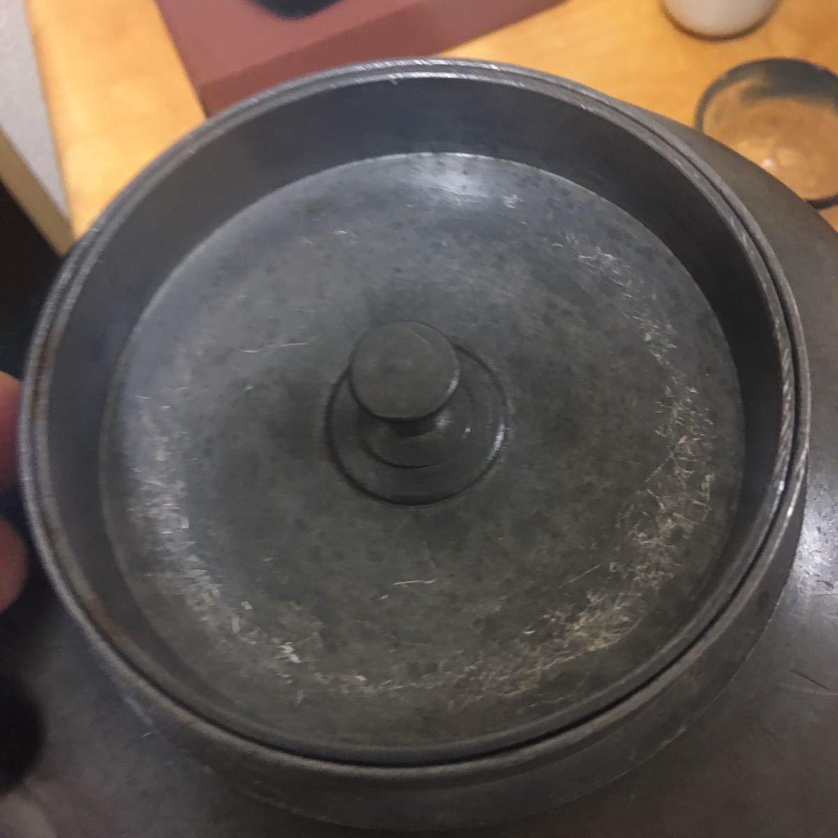 錫製 茶缶 茶入 特大 清時代 茶道具 煎茶道具 _画像5