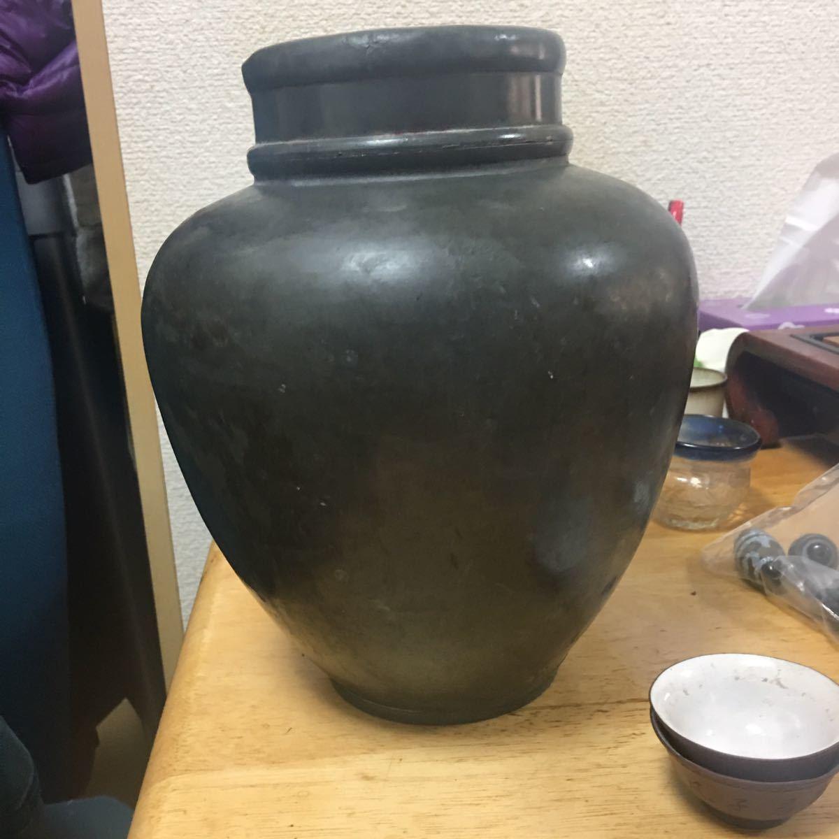 錫製 茶缶 茶入 特大 清時代 茶道具 煎茶道具 _画像1