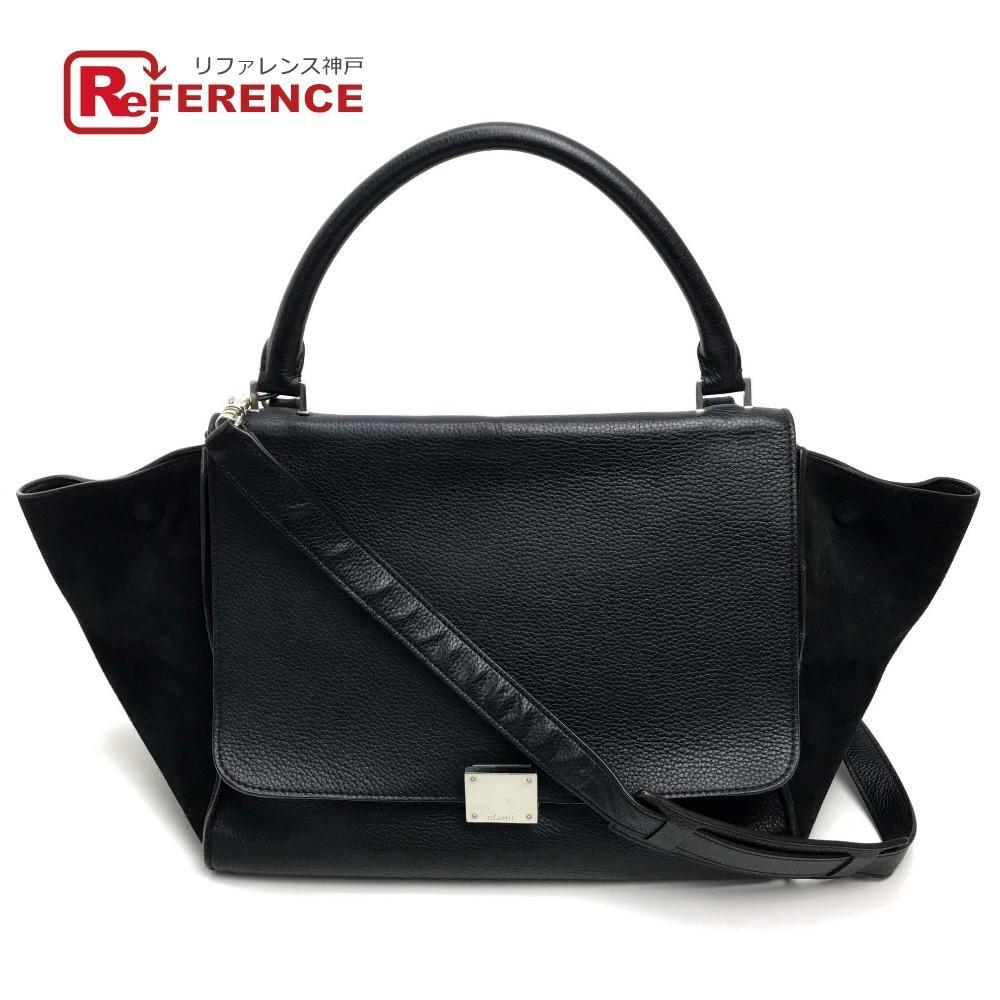 CELINE Сумка через плечо Celine Сумка Trapeze 2way Сумка Замша x кожа Дамы Черный Черный Celine и сумка, сумка и сумка через плечо