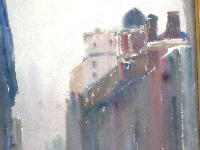 水彩画 街の風景 作家サインなし 額装 額縦42㎝×横31.5㎝×厚み2.5㎝_画像3