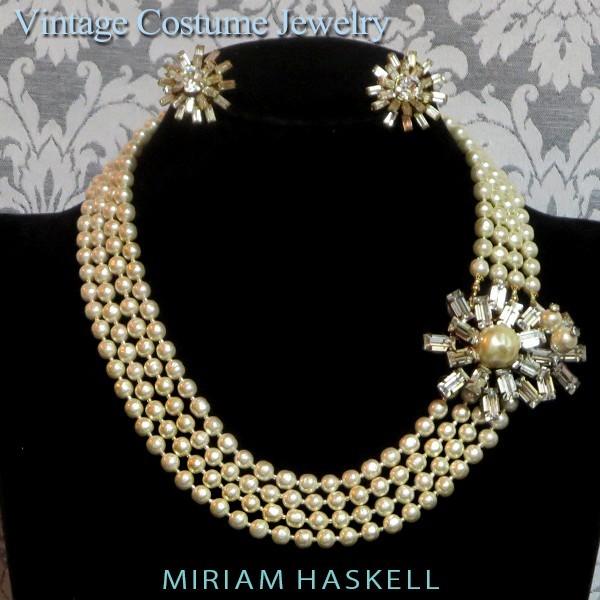 ◇ミリアム・ハスケル:ダイヤ花付パール4連ネックレス・イヤリング Miriam Haskellヴィンテージ・コスチュームジュエリー