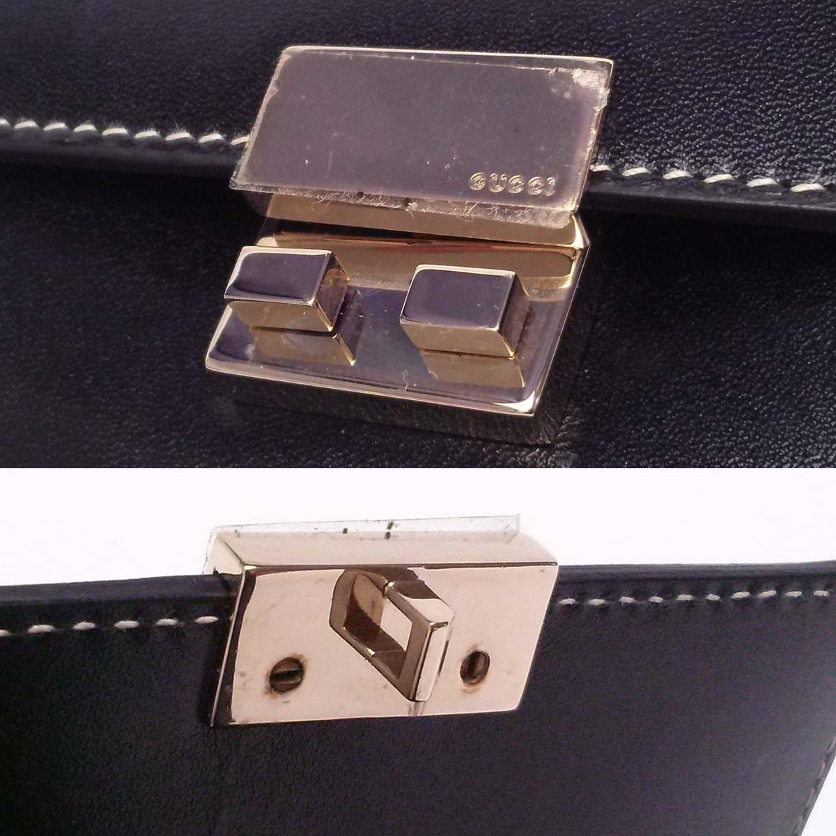 【新品同様】 グッチ コンパクト財布 金具テープ付き スライドロック【モード系】パスケース付き 黒 箱 appre5773【一撃即決】_画像9