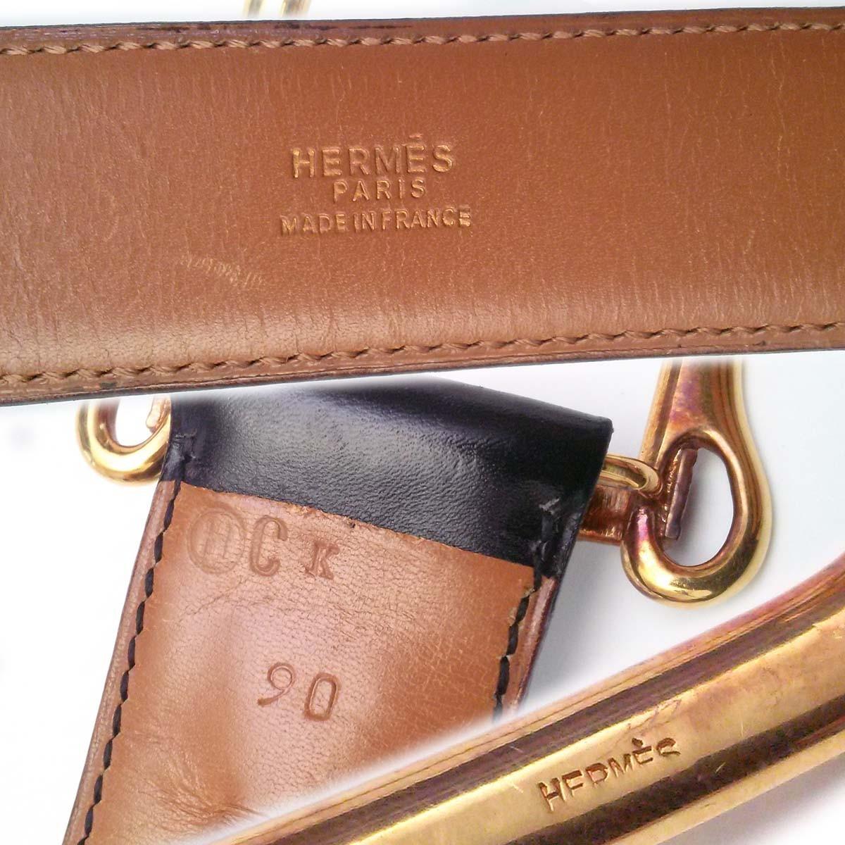 エルメス 1978ヴィンテージ レア 90cmベルト バックルbeltモチーフ gold金具 黒 茶 BOXカーフ 〇H刻印 appre5792_画像10
