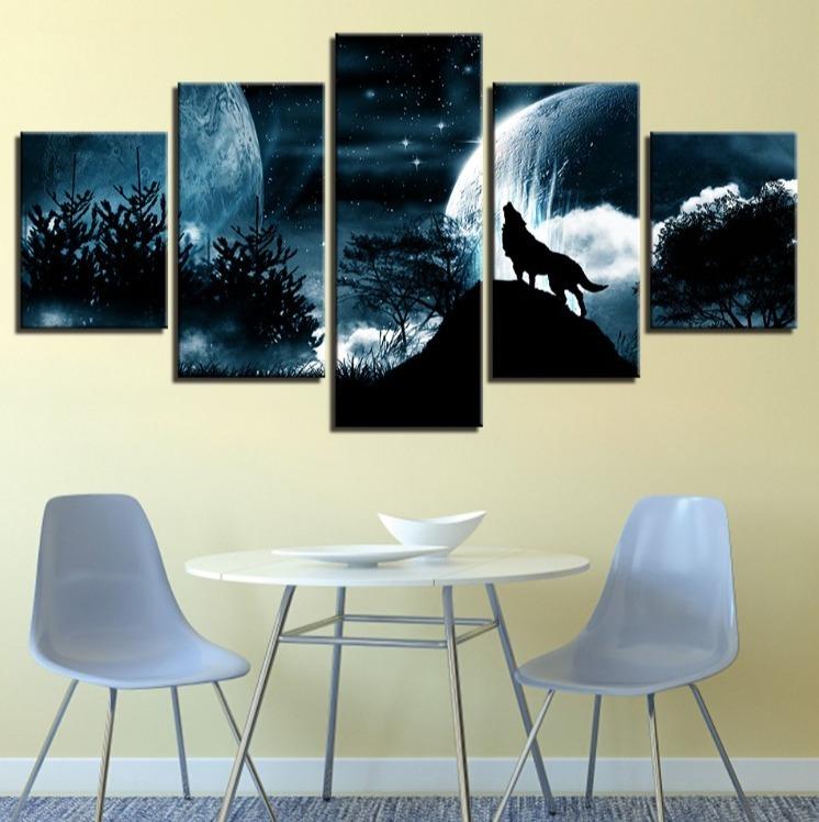 ★☆【激安!!レア品】狼 オオカミ 聖者の夜 星空 月 キャンバス アートポスター フレーム Frame 10x15 10x20 10x25cm☆★_画像2
