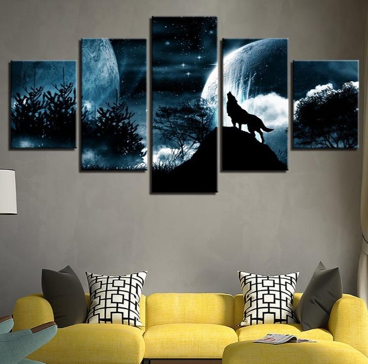 ★☆【激安!!レア品】狼 オオカミ 聖者の夜 星空 月 キャンバス アートポスター フレーム Frame 10x15 10x20 10x25cm☆★_画像3
