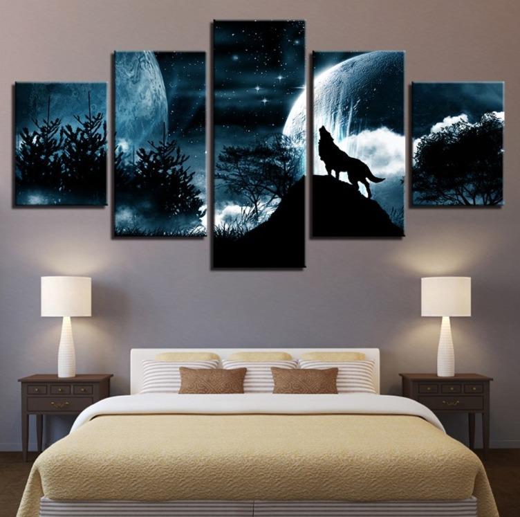 ★☆【激安!!レア品】狼 オオカミ 聖者の夜 星空 月 キャンバス アートポスター フレーム Frame 10x15 10x20 10x25cm☆★_画像1