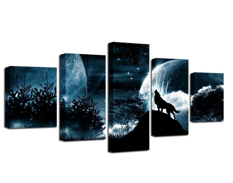 ★☆【激安!!レア品】狼 オオカミ 聖者の夜 星空 月 キャンバス アートポスター フレーム Frame 10x15 10x20 10x25cm☆★_画像5