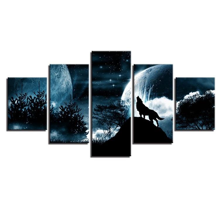 ★☆【激安!!レア品】狼 オオカミ 聖者の夜 星空 月 キャンバス アートポスター フレーム Frame 10x15 10x20 10x25cm☆★_画像4