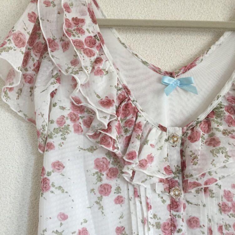 ダズリン dazzlin ロンパース 花柄 半袖 レディース コンビネゾン サロペット フリル 可愛い ゆるふわ モテ フリフリ 白 ピンク ホワイト