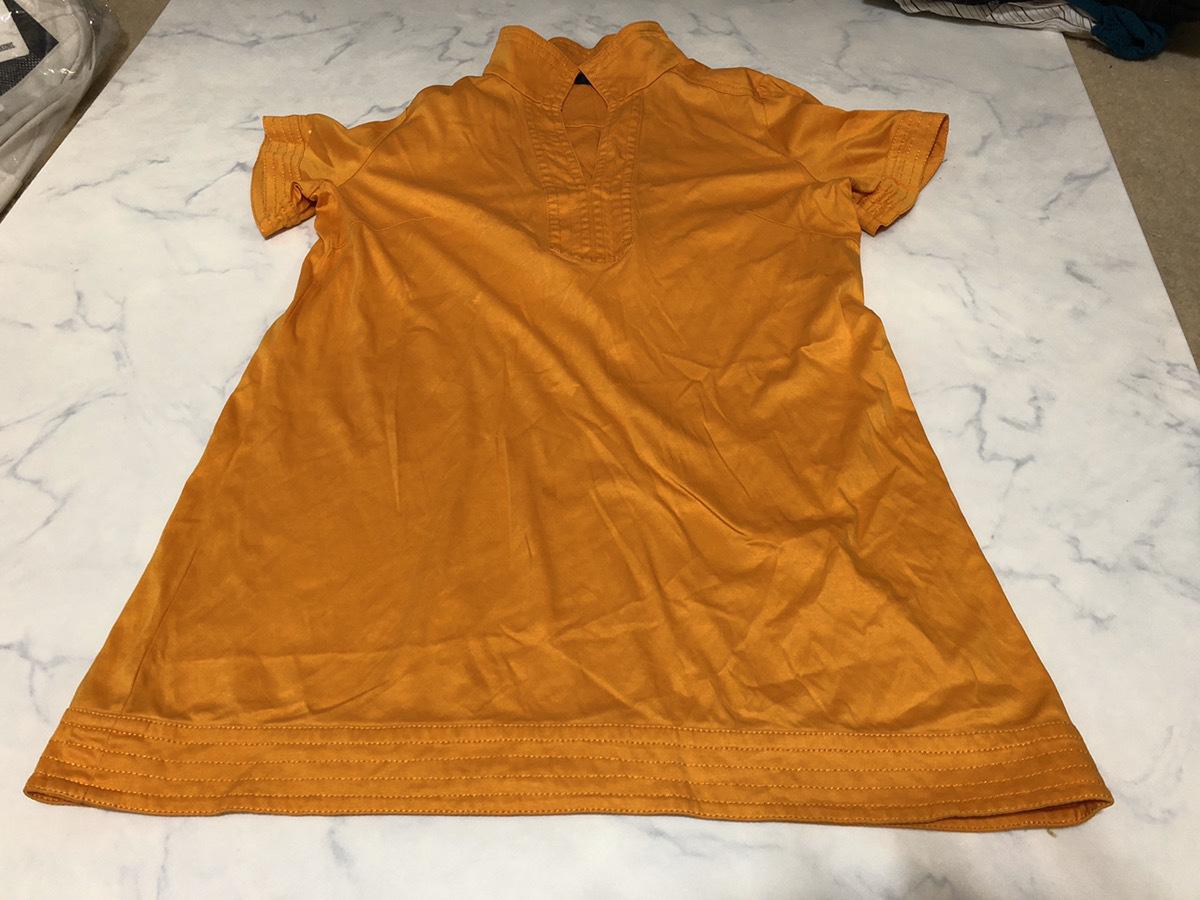 22 OCTOBRE(ヴァンドゥーオクトーブル) シャツ 半袖 52895317 オレンジ系 肩幅約50cm袖丈約16cmバスト約100cm着丈約70cm【アウトレット】P2_画像1