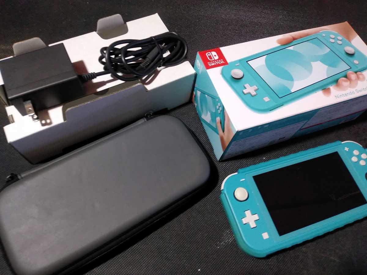 送料込み ニンテンドー スイッチ ライト 本体 ターコイズ Nintendo Switch Lite 任天堂 中古 GEO保証 ハードケース カバー付き HDH-001_画像1
