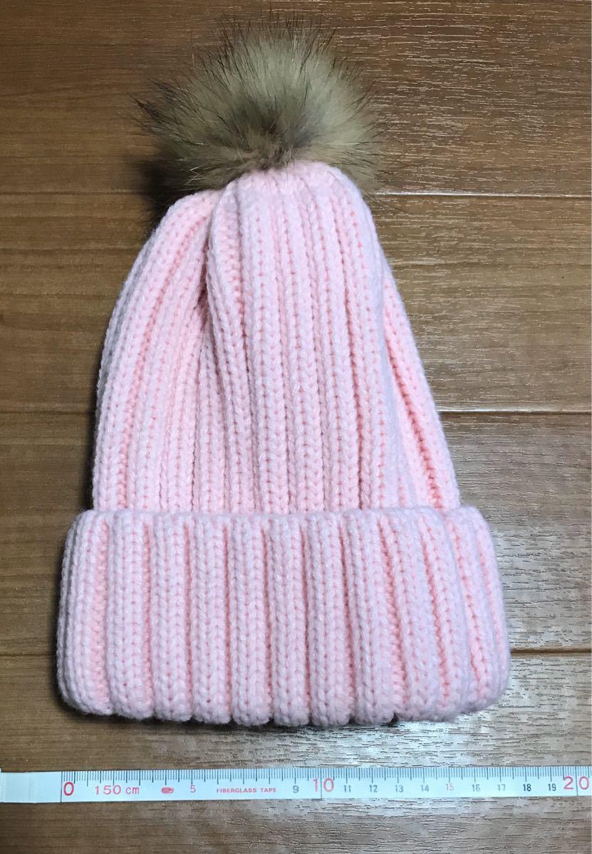 ニット帽  ビーニー ピンク