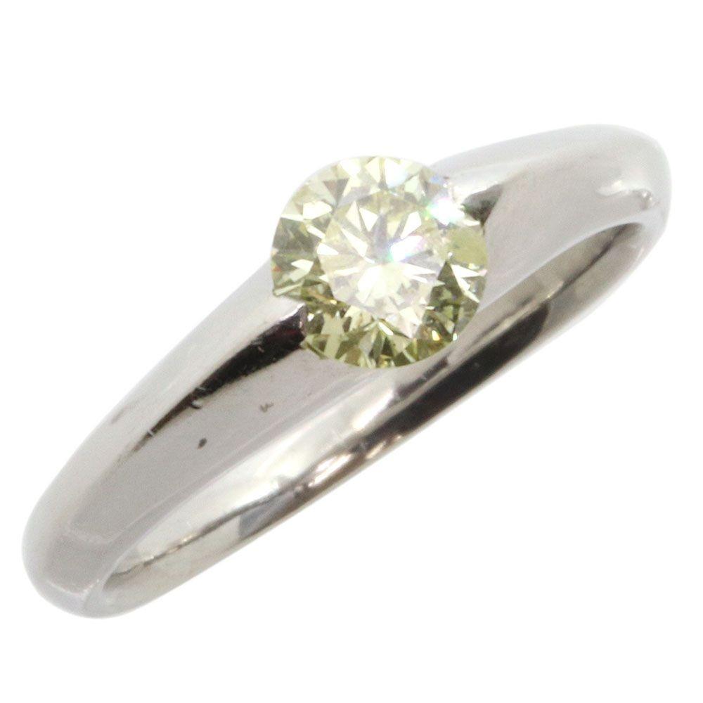 ダイヤモンド リング 一粒 ラウンドブリリアントカット 0.593ct Pt900 13号 中古 指輪 プラチナ Diamond_画像1