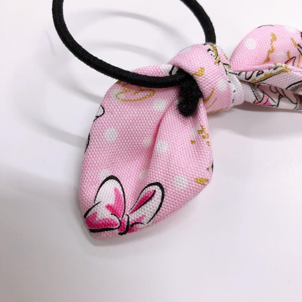 【ハンドメイド】c25 ミニーちゃんヘアリボン ピンク ミニーマウス ヘアゴム 手作り キッズ ティーン 可愛い ミッキー 女の子 リメイク_画像6
