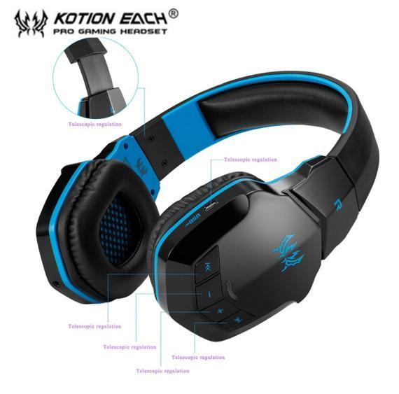 W100 ワイヤレスヘッドセット bluetooth ゲーミングヘッドホン FPS 装着性 臨場感 高音質 PC/ゲーム機 ブラック&ブルー_画像3