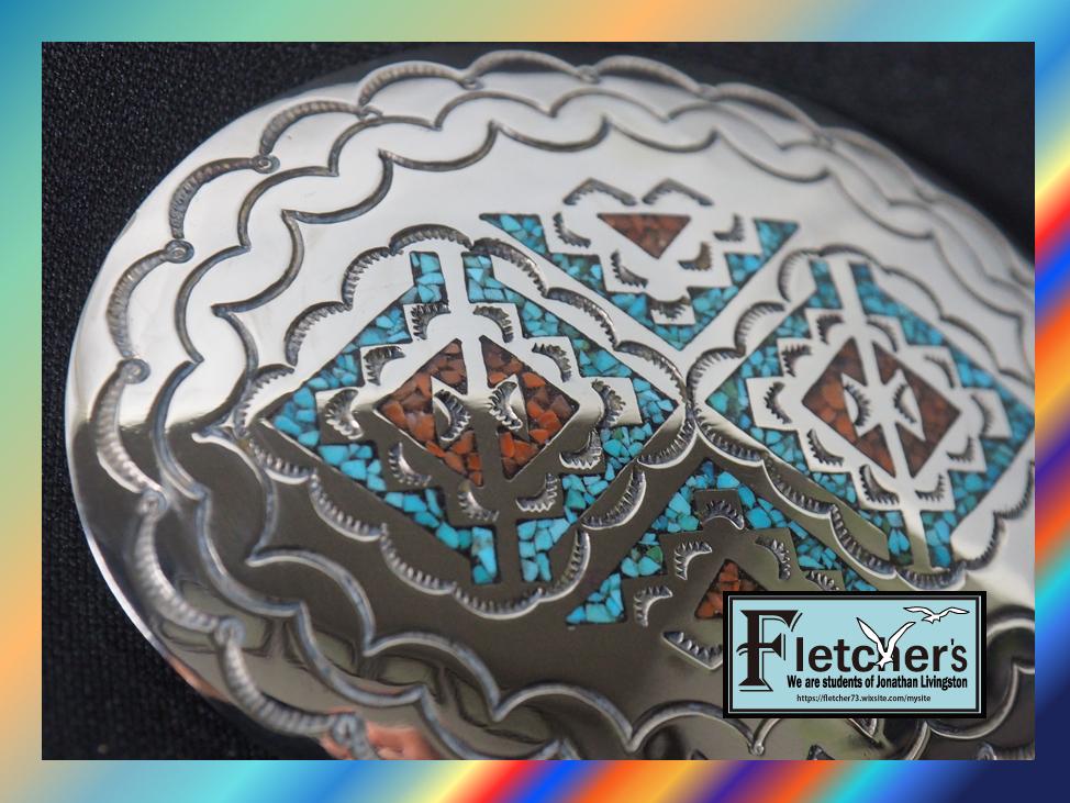 ナバホ族作家NAKAI作 シルバー & ターコイズ ベルトバックル インディアンジュエリー ネイティブ アクセサリー c22_画像2