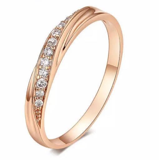 16号 AAA CZダイアモンド ピンクゴールド リング サージカルステンレス 18KGP エンゲージリング 特価 結婚指輪 ペアリング_画像1