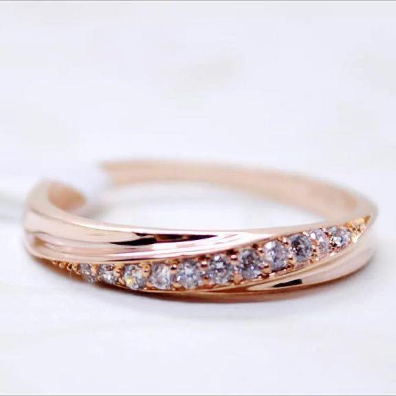 16号 AAA CZダイアモンド ピンクゴールド リング サージカルステンレス 18KGP エンゲージリング 特価 結婚指輪 ペアリング_画像2