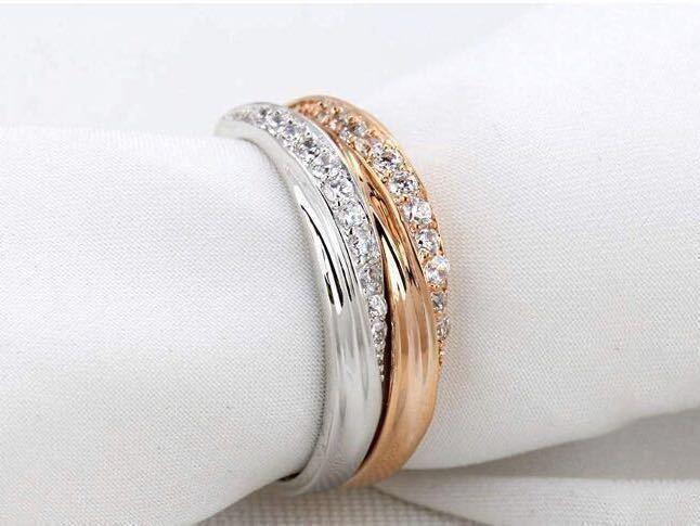 16号 AAA CZダイアモンド ピンクゴールド リング サージカルステンレス 18KGP エンゲージリング 特価 結婚指輪 ペアリング_画像3