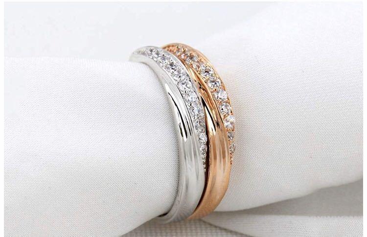 18号 AAA CZダイアモンド シルバーリング サージカルステンレス 18KGP 刻印 有り エンゲージリング 婚約指輪 特価 ダイヤモンドリング_画像3
