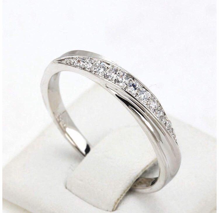 18号 AAA CZダイアモンド シルバーリング サージカルステンレス 18KGP 刻印 有り エンゲージリング 婚約指輪 特価 ダイヤモンドリング_画像2