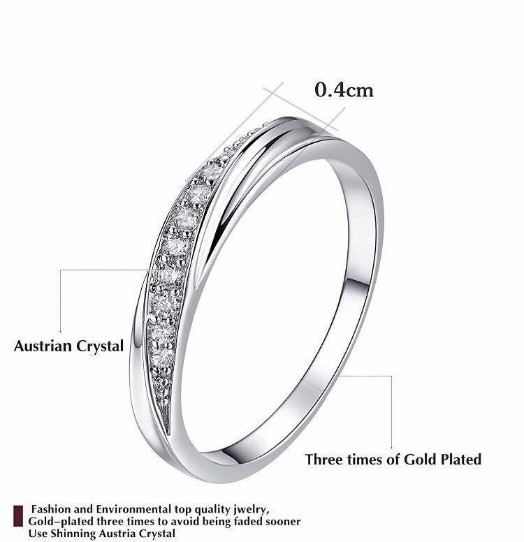 18号 AAA CZダイアモンド シルバーリング サージカルステンレス 18KGP 刻印 有り エンゲージリング 婚約指輪 特価 ダイヤモンドリング_画像4