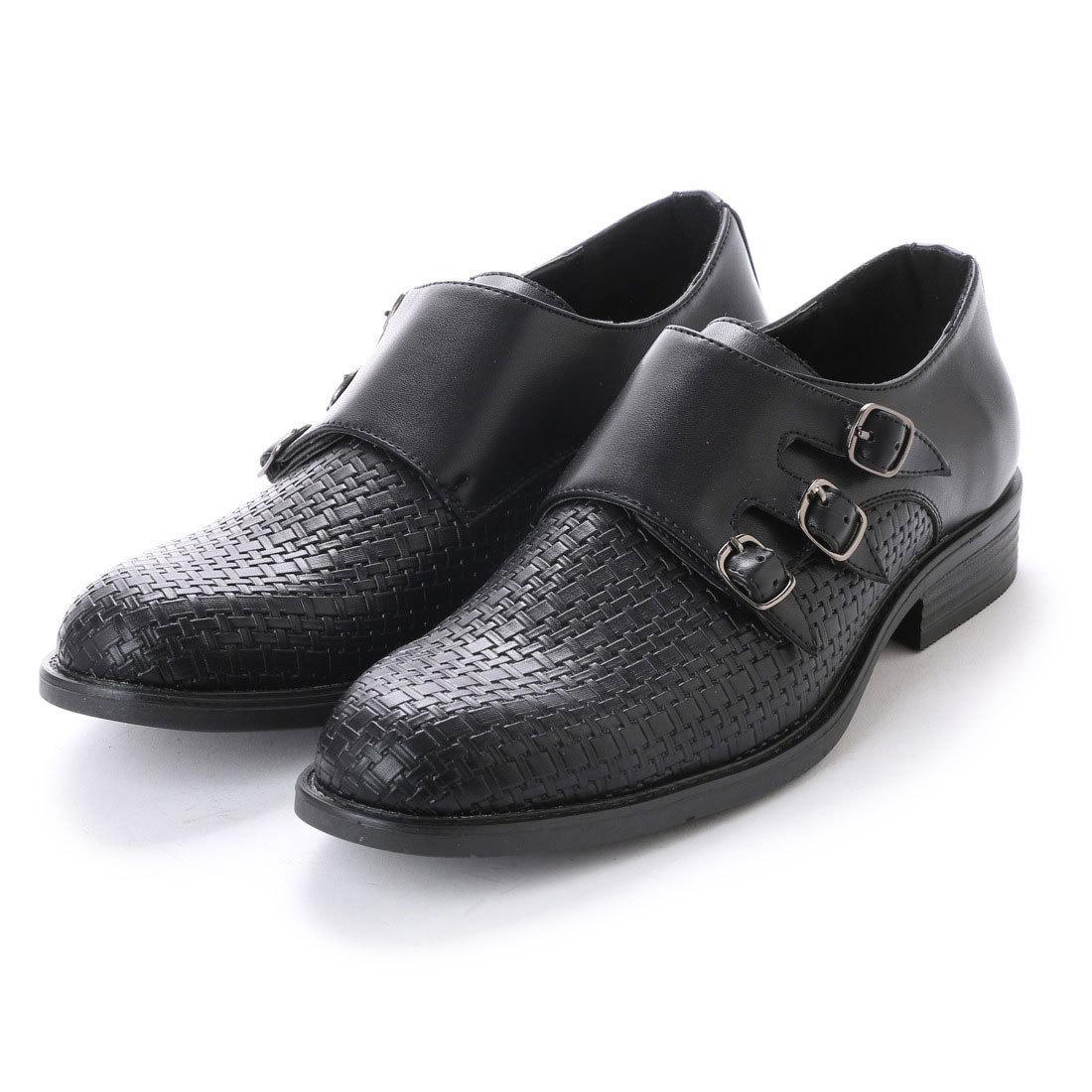 16123 アウトレット ビジネスシューズ 24.5cm ブラック モンクストラップ 型押し メンズ 紳士靴