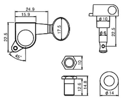 チューナー チューニングキー ペグ マシンヘッドセット フェンダー ストラト テレキャスター エレキギター改造 修理 カスタム 交換パー_画像2