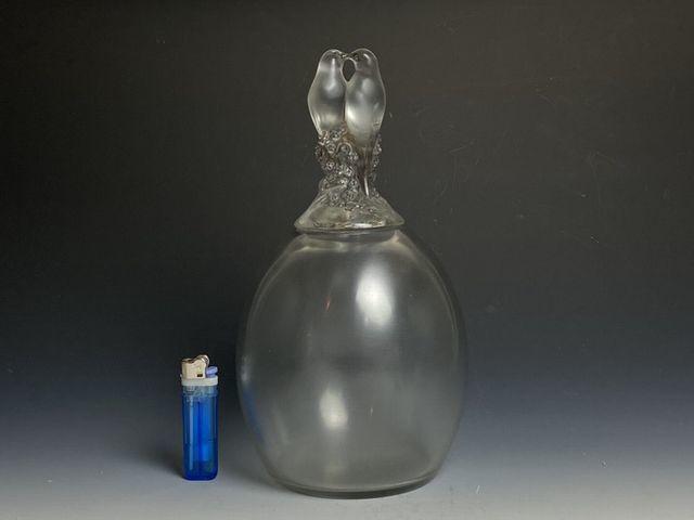 《芦》 Rene Lalique ルネ・ラリック TOURTERELLES(キジバト) 蓋付瓶 真作保証_画像2