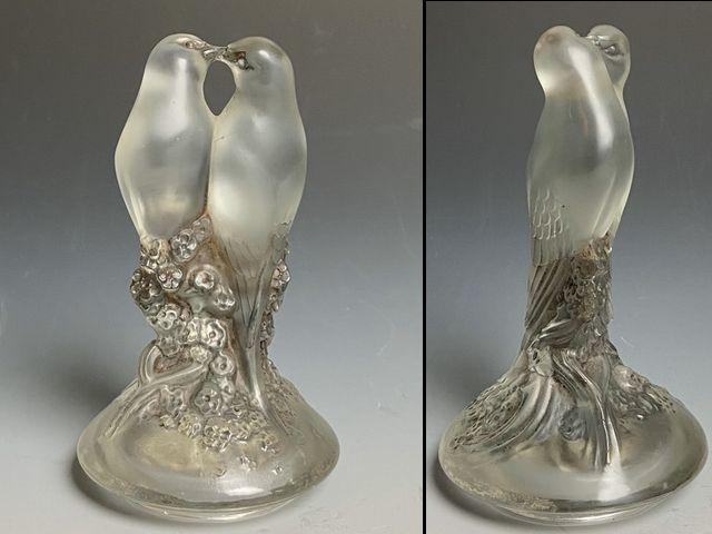 《芦》 Rene Lalique ルネ・ラリック TOURTERELLES(キジバト) 蓋付瓶 真作保証_画像3