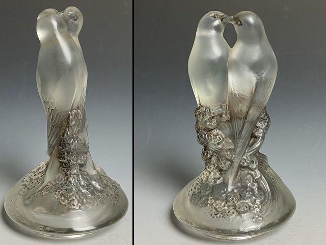 《芦》 Rene Lalique ルネ・ラリック TOURTERELLES(キジバト) 蓋付瓶 真作保証_画像4