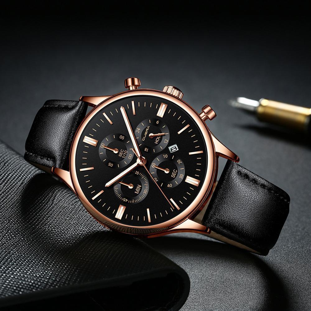 CUENA 男性腕時計ファッションの高級スポーツメンズステンレススチールケースレザーバンドクォーツアナログ腕時計レロジオ Masculino_画像1